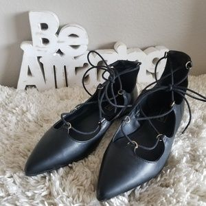 TOPSHOP Pointed Lace Up Ballet Flats 8.5